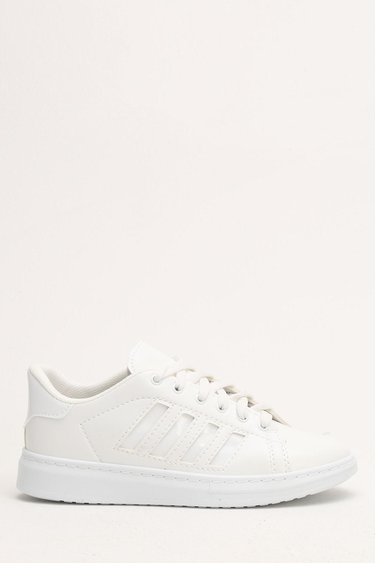 Ayakkabı Modası Beyaz Kadın Spor Ayakkabı M4000-19-101002R 0