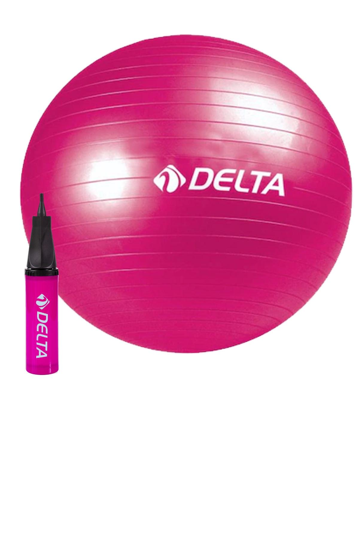 Delta 65 Cm Pilates Topu Şişirme Pompası Seti Egzersiz Topu 65Cm Plates Seti Fuşya 0