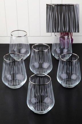 Pinkev 6 Kişilik Platin Yaldızlı Kesme Su Bardağı Seti 0