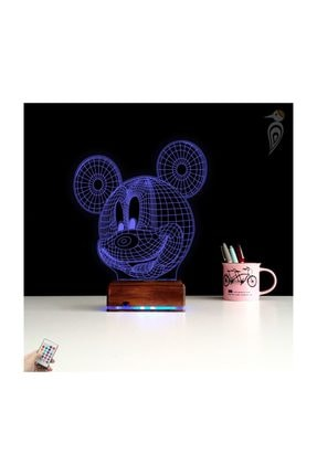 TahtaModa 3d Ilizyon Led Lamba Dekoratif Gece Lambası Çocuk Odası Mickey Fare Gece Lambası 1