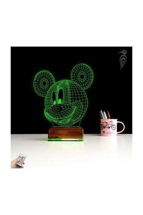 TahtaModa 3d Ilizyon Led Lamba Dekoratif Gece Lambası Çocuk Odası Mickey Fare Gece Lambası 3
