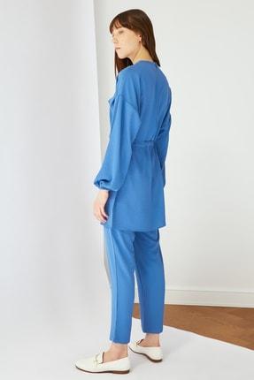 Trendyol Modest Mavi Cep Detaylı Tunik Pantolon Kuşak Detaylı Alt-Üst Takım TCTSS21AU0238 3