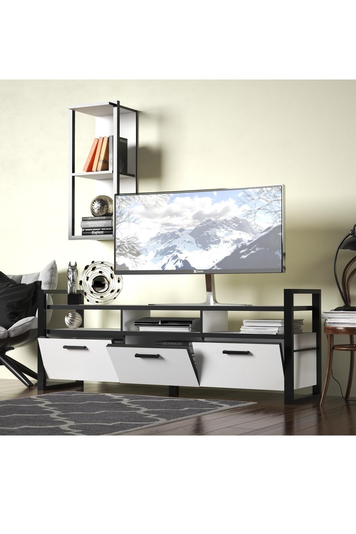 Evdemo Sedef Tv Sehpası Tv Ünitesi Beyaz Siyah 1