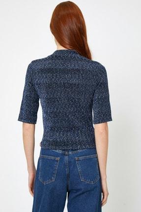 Koton Kadın Lacivert Yüksek Yaka T-Shirt 0KAK13262EK 1