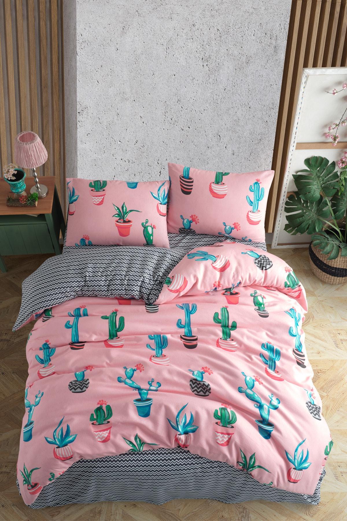 Cactus Çift Kişilik Kaktüs Desenli Nevresim Takımı