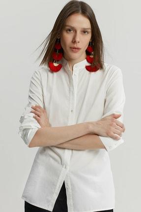 Yargıcı Kadın Kırık Beyaz Bağlama Detaylı Gömlek 9KKGM6160X 0