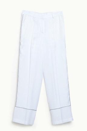 Yargıcı Kadın Beyaz Biye Detaylı Pantolon 9KKPN3127X 0