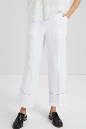 Yargıcı Kadın Beyaz Biye Detaylı Pantolon 9KKPN3127X 1