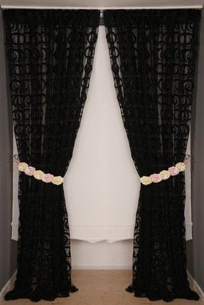 AKÇA TEKSTİL Vakko Siyah Renk Ip Perde Hazır Düğmeleri Dikilmiş 3 Mt. Kupon Perde 300*270 cm 0