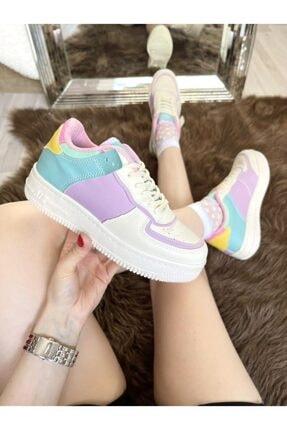ELSESHOES Kadın Krem Lila Sneaker 1