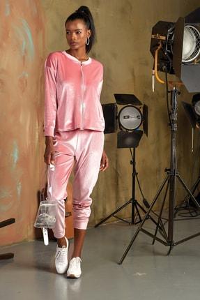 GİZZEY Kadın Coral Kadife Taş Baskılı Pantolon Takım  - Outlet Ürünü 0