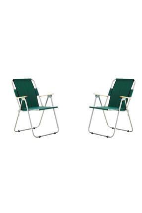 bayeren Yeşil 2'li Ağaç Kollu Katlanır Plaj Piknik Kamp Sandalyesi Seti 0