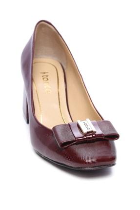 Kemal Tanca Bordo Kadın Vegan Klasik Topuklu Ayakkabı 22 619 BN AYK 1