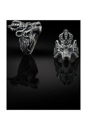 Bysilverstone 3 Boyutlu Aslan Kral Erkek Gümüş Yüzük 1
