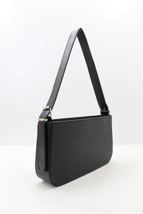 roma italy Kadın Siyah Fermuarlı Baget Çanta 1