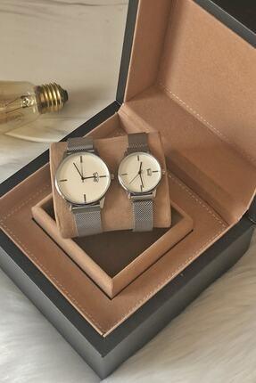 Ricardo Unisex Çift Gümüş Renk Hasır Çelik Kordon Takvimli Kol Saati 1