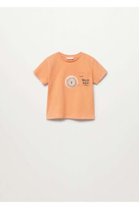 Picture of Bebek Turuncu Kayık Baskılı Pamuklu Tişört