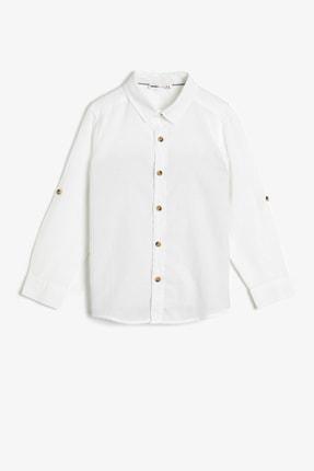 Koton Basic Uzun Ve Katlanabilir Kollu Klasik Yaka Gömlek 0