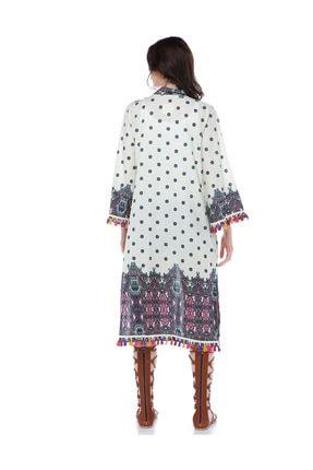 Diger Karakterler Etnik Desenli Aksesuar Detaylı Pamuklu Kumaştan Yazlık Uzun Kimono Elbise 1
