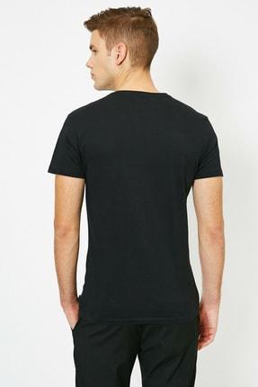 Koton Erkek Siyah Yazili Baskili T-Shirt 0YAM11931CK 3