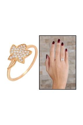 Tesbihane Zirkon Taşlı Kır Çiçeği Tasarım Rose Renk 925 Ayar Gümüş Bayan Yüzük 2