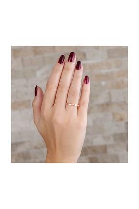 Tesbihane Zirkon Taşlı Sıralı Küp Tasarım Rose Renk 925 Ayar Gümüş Bayan Yüzük 1