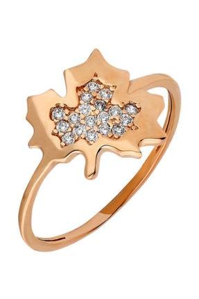 Tesbihane Zirkon Taşlı Çınar Yaprağı Tasarım Rose Renk 925 Ayar Gümüş Bayan Yüzük 1