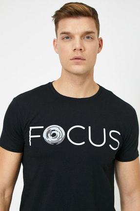 Koton Erkek Siyah Yazılı Baskılı T-Shirt 1