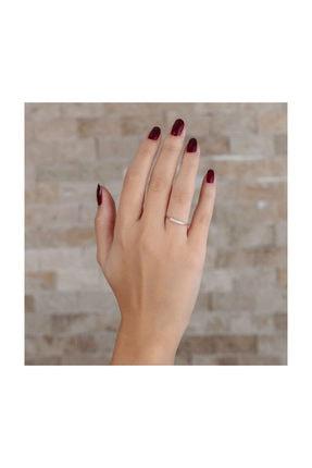 Tesbihane Zirkon Taşlı Tüp Tasarım Rose Renk 925 Ayar Gümüş Bayan Yüzük 0