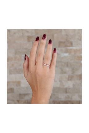 """Tesbihane Zirkon Taşlı """"t"""" Tasarım Rose Renk 925 Ayar Gümüş Bayan Yüzük 1"""
