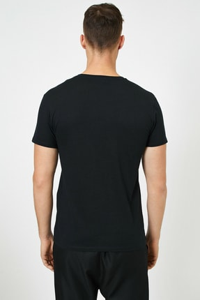 Koton Erkek Siyah Yazılı Baskılı T-Shirt 3