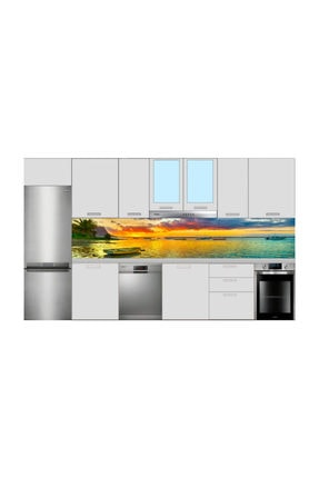 Renkli Duvarlar MUTFAK TEZGAH ARASI DENİZ KAYIK MANZARA FOLYO KAPLAMA STİCKER 60X350 CM 0