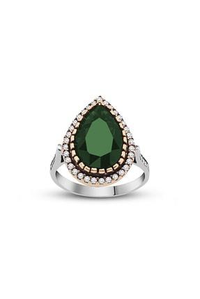 Tesbihane 925 Ayar Gümüş Zirkon Ve Yeşil Ruby Taşlı Damla Tasarım Otantik Kadın Yüzük 102000415 3