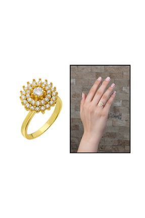 Tesbihane Üç Sıra Zirkon Taşlı Halka Tasarım Gold Renk 925 Ayar Gümüş Kadın Yüzük 102001604 0
