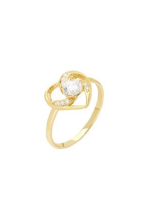 Tesbihane Zirkon Tektaşlı Kalp Tasarım Gold Renk 925 Ayar Gümüş  Yüzük 102001754 1