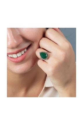 Tesbihane 925 Ayar Gümüş Zirkon Ve Yeşil Ruby Taşlı Damla Tasarım Otantik Kadın Yüzük 102000415 2