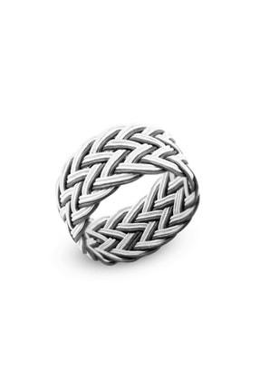 Tesbihane Beyaz-Siyah Renkli 1000 Ayar Gümüş Trabzon El Örmesi Kazaz Yüzük 102000418 1