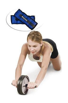 Delta Ab Slider Deluxe Egzersiz Tekerleği Tekerlek Çalışma Spor Aleti + Bilek Ağırlığı 0.5kgx2adet 0