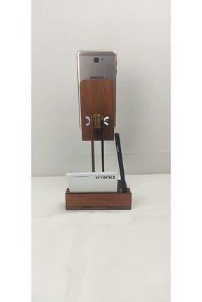 dunyalarvar Iroko Ahşap Masa Üstü Telefon Tutucu Stant Masaüstü Tablet Tutacak Şarj Stand Telefontutucu 2