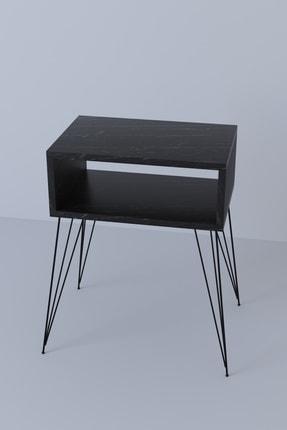 Tedarikcenter Metal Ayaklı Komodin - Siyah Mermer 0