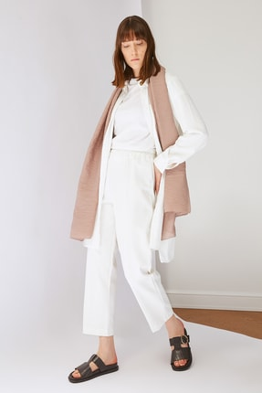 Trendyol Modest Beyaz Beli Lastikli Pantolon TCTSS21PL0570 1