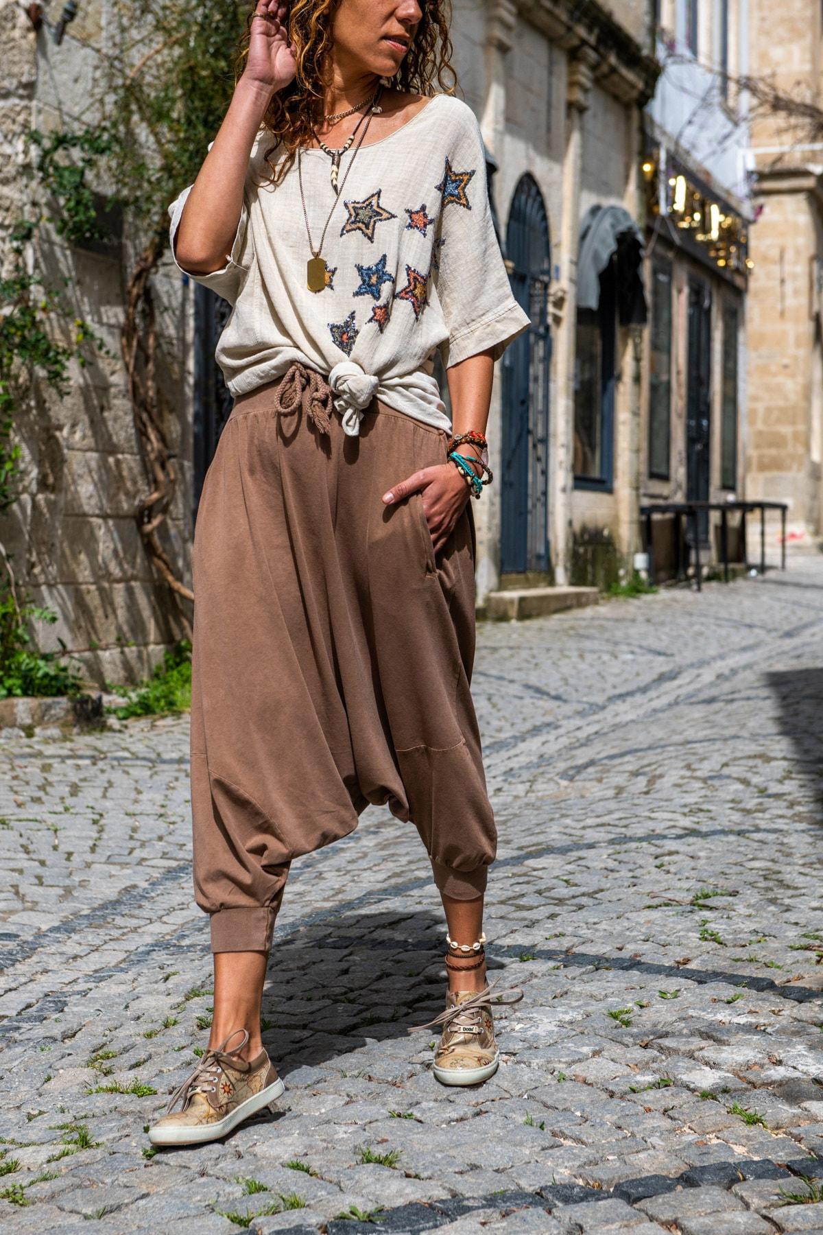 Güneşkızı Kadın Bakır Yüksek Bel Cepli Beli Lastikli Şalvar Pantolon GK-RSD2004 0