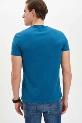 Defacto Erkek Yeşil Basic Slim Fit T-Shirt 3