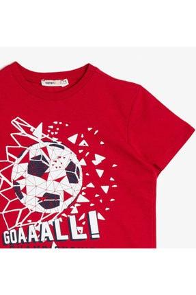 Koton Erkek Kırmızı Yazili Baskili T-shirt 0YKB16255OK 2