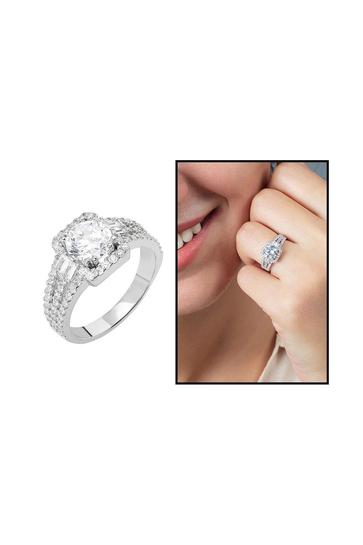 Tesbihane Starlight Diamond Pırlanta Montür Efektli 925 Ayar Gümüş Bayan Baget Yüzük 102001799 1