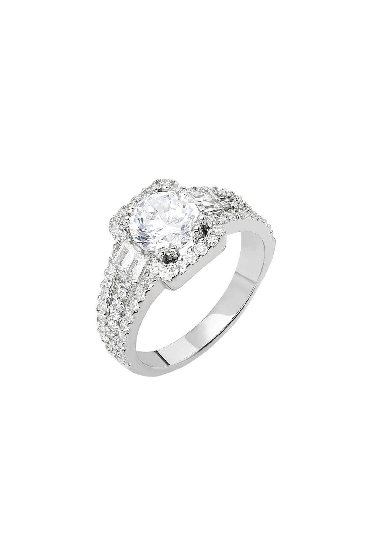 Tesbihane Starlight Diamond Pırlanta Montür Efektli 925 Ayar Gümüş Bayan Baget Yüzük 102001799 3