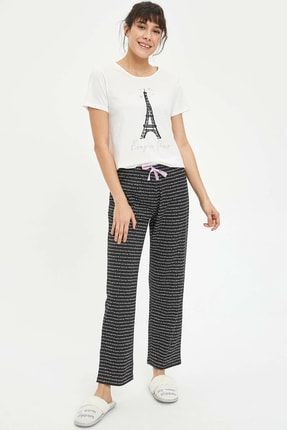 Defacto Kadın Siyah Baskılı Pijama Takımı N2462AZ.20SP.BK27 0