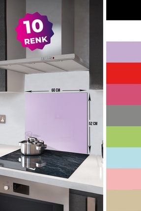 Decorita Düz Renk - Lila | Cam Ocak Arkası Koruyucu   | 52cm x 60cm 1