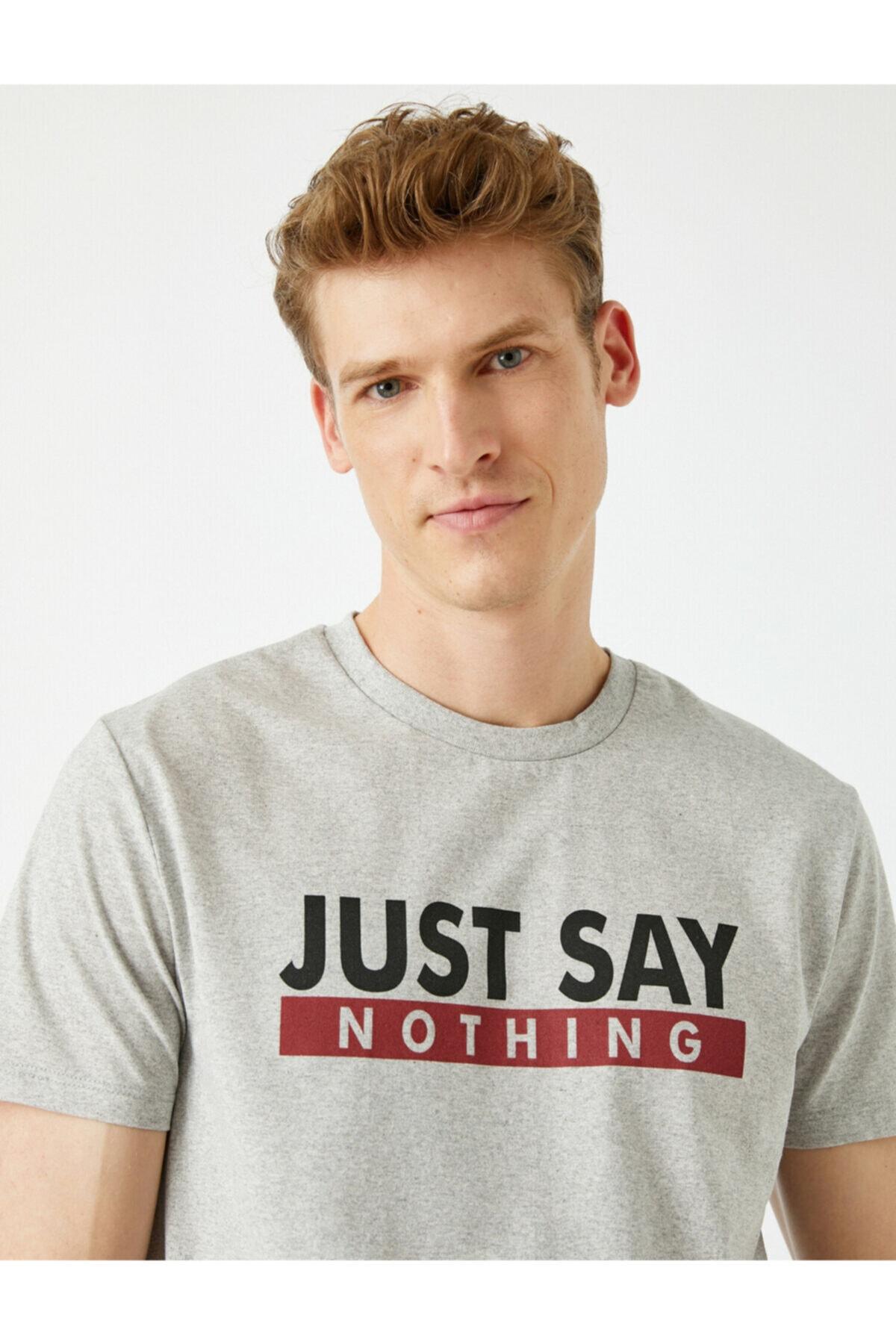Erkek Sloganlı Bisiklet Yaka Gri T-Shirt