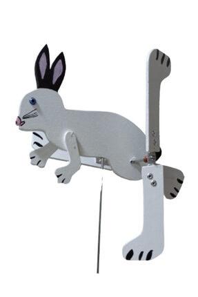 Rüzgaristan Mini Ahşap Rüzgar Gülü Beyaz Tavşan 1